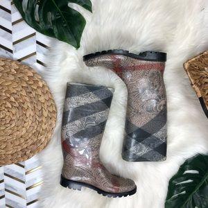 Burberry Floral Super Nova Check Boots Rare